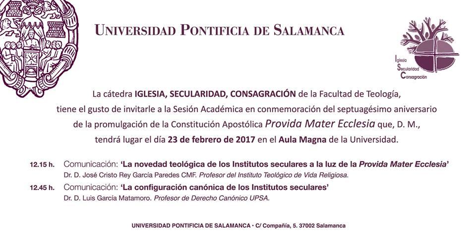 Acto Académico en laUniversidad Pontificia de Salamanca